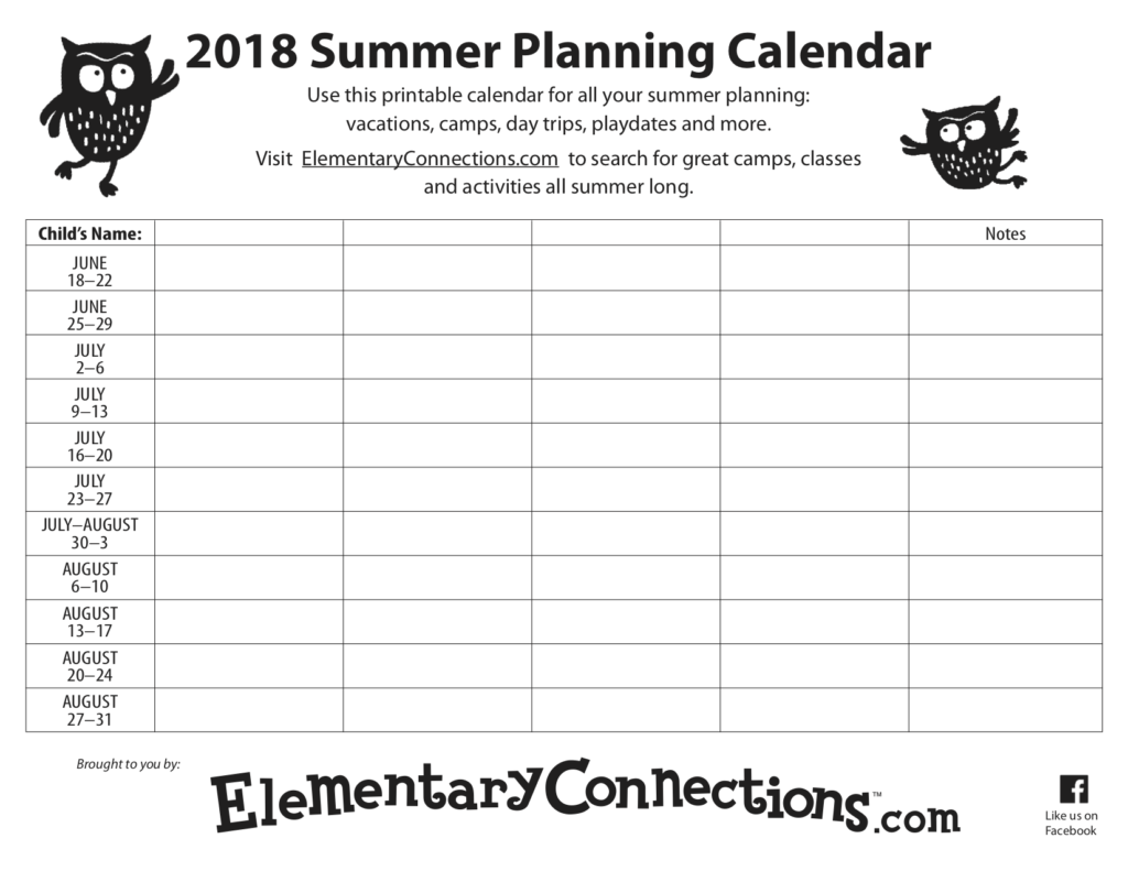 2018 Summer Planning Calendar