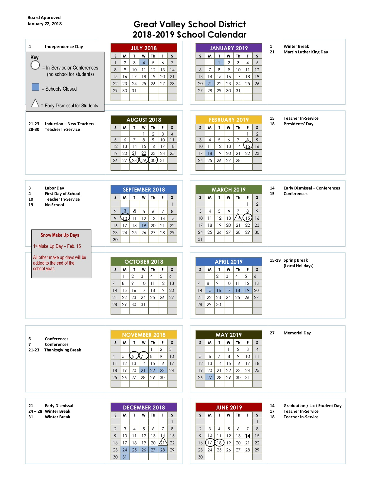 Colonial School District Calendar