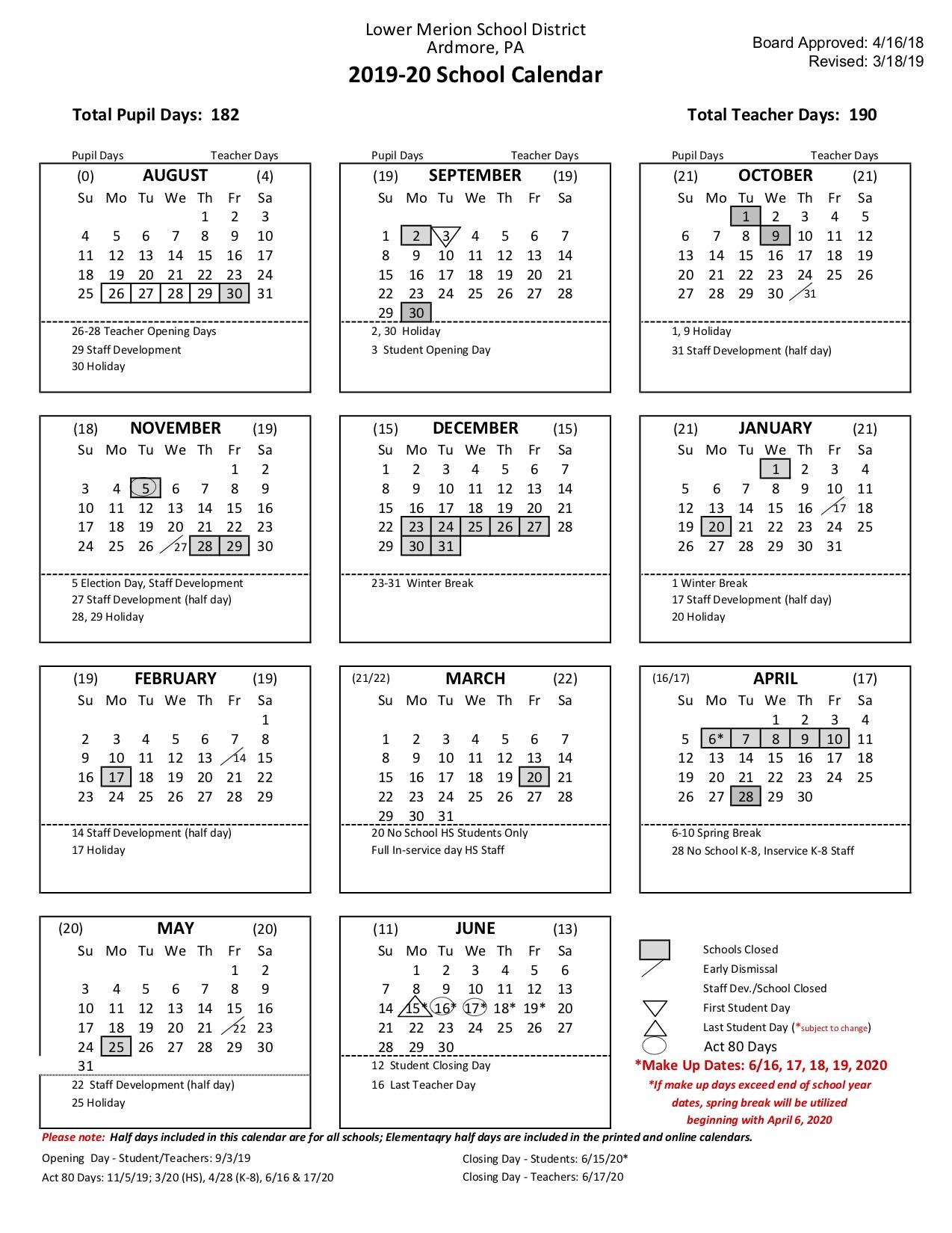 Colonial School District Calendar